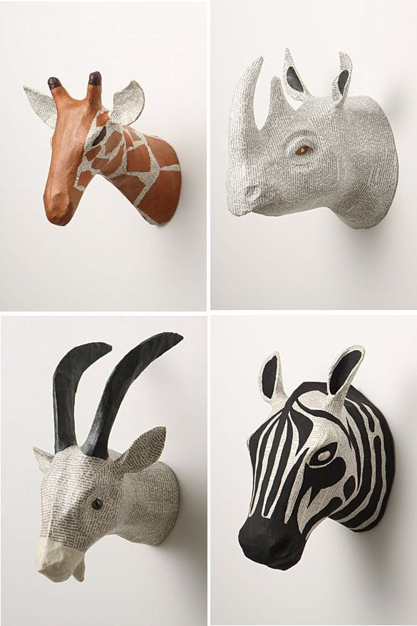 Love these paper mache animal heads