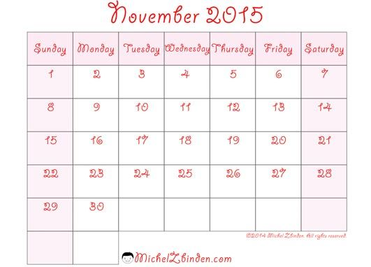 Printable calendar for november 2015 google search for 120 day calendar template