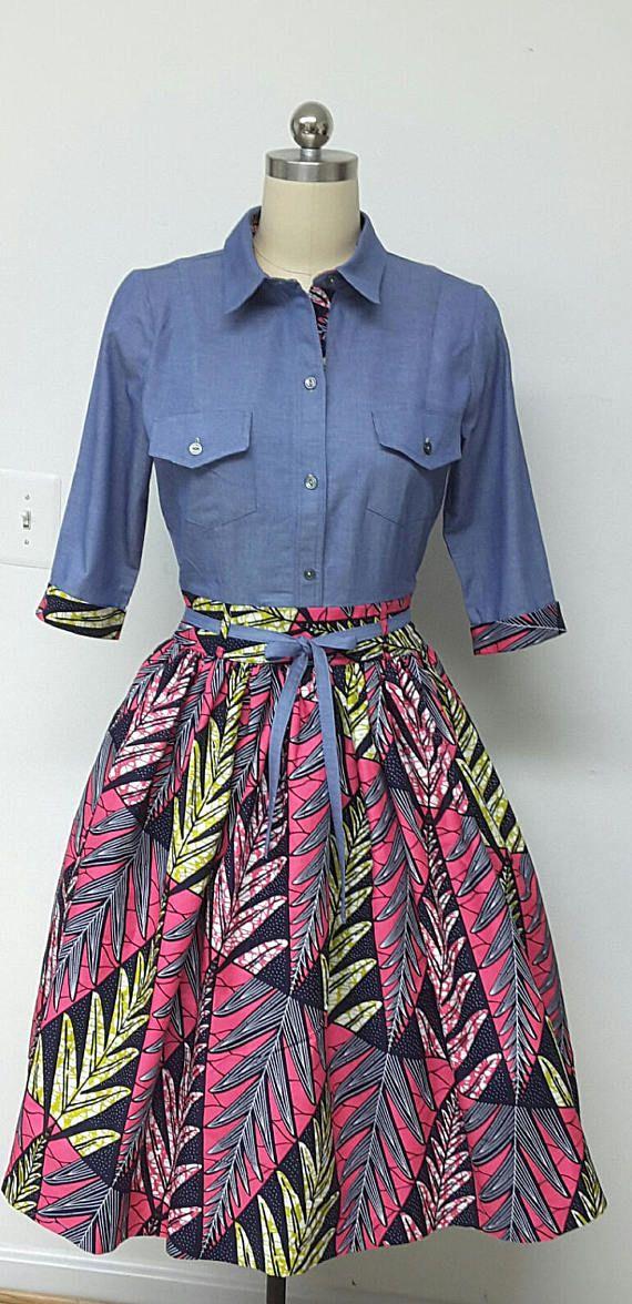 DENWAX Collection. African Print Denim Fitted Shirt Dress.