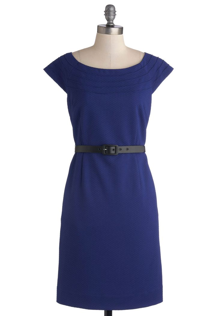 Knit, Mid-length, Blue, Solid, Belted, Work, Shift, Cap Sleeves, Better, Scoop, Pockets