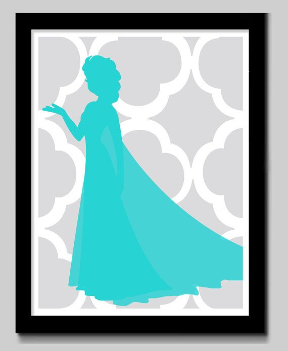 Disney Princess Silhouette Art by EdmondsonbyDesign on Etsy, $15.00