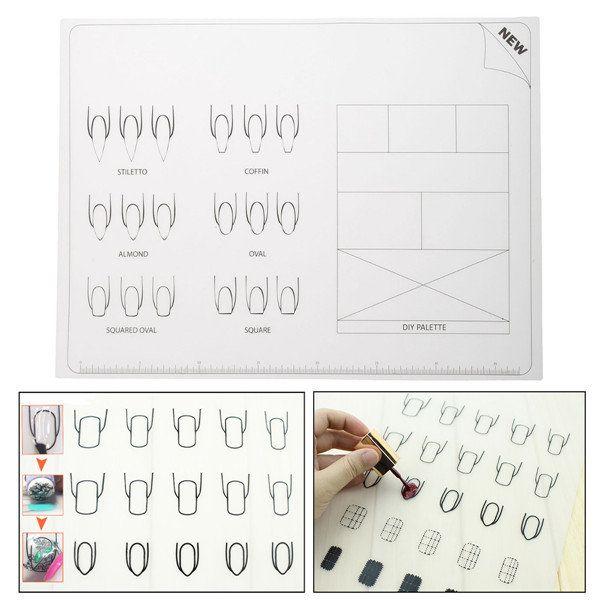 Моющийся ногтей стол коврик мягкий силиконовый коврик для маникюра инструмент деколи шаблон УФ-гель для ногтей шаблон на Banggood