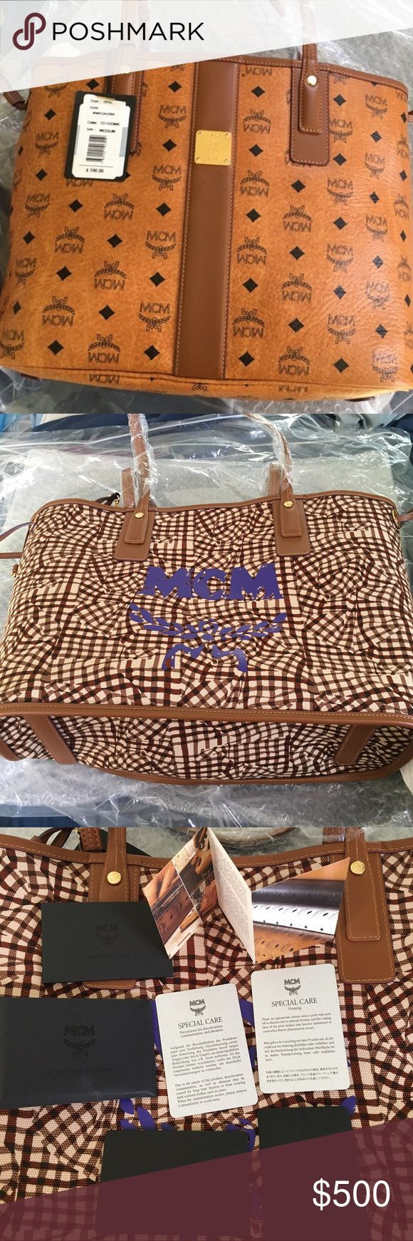 Mcm medium tote bag Medium tote bag never worn. Pouch and dust bag included with full asking price only!! MCM Bags Totes