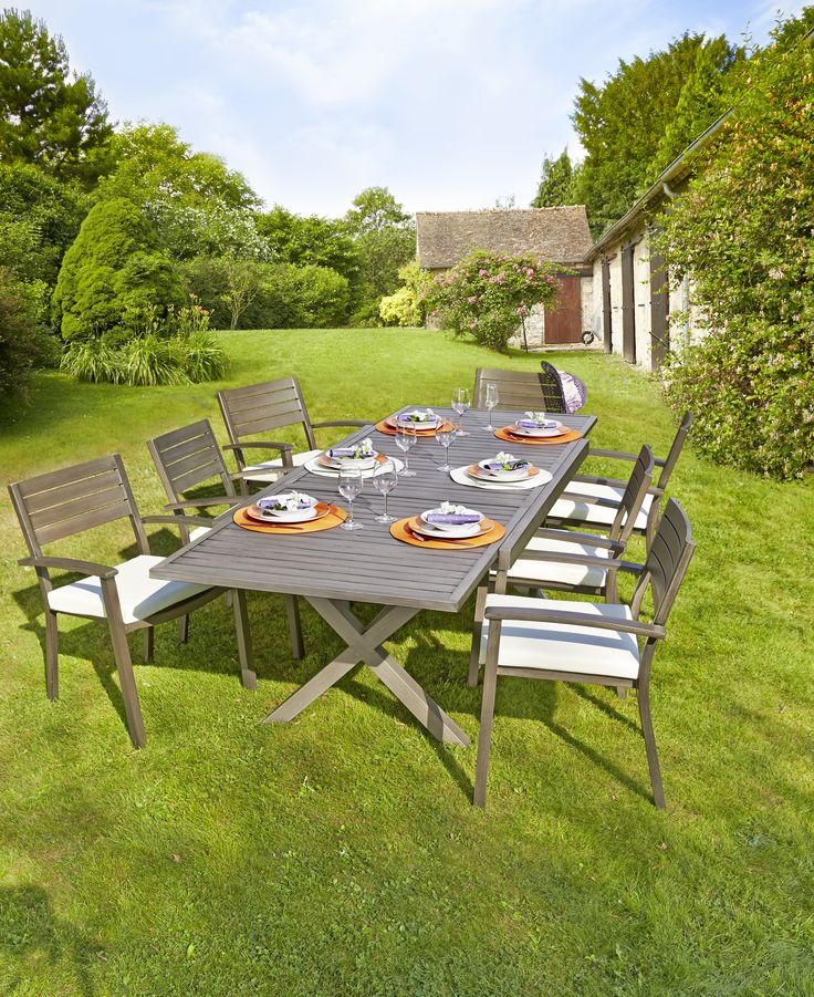 1 table honfleur 6 fauteuils honfleur collection 2015 for Intermarche table de jardin