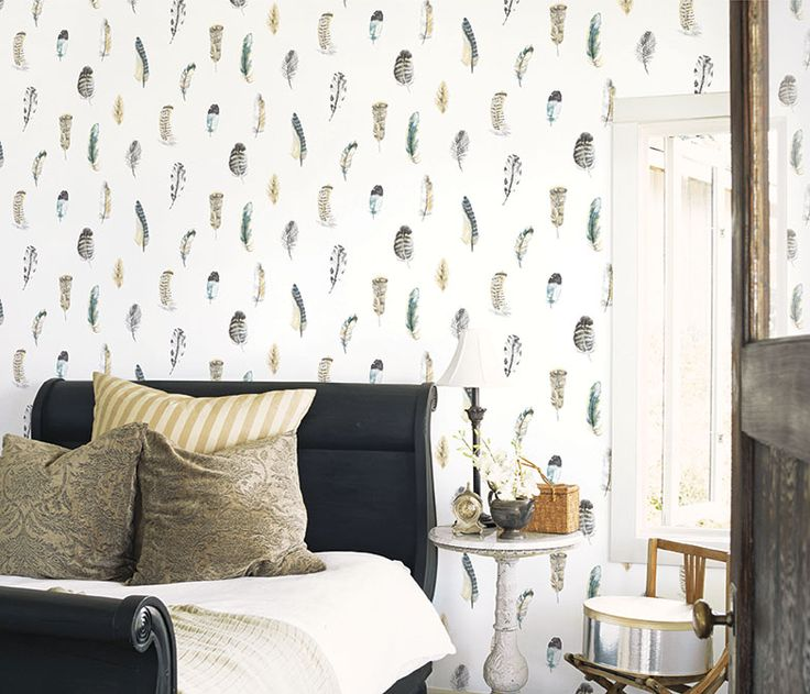 Wonderful bedroom decor using the Global Fusion Feather Motif wallpaper.