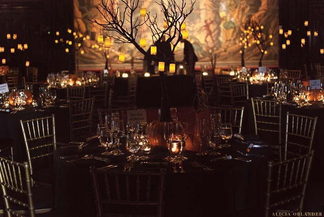 Halloween Wedding reception, we at The Bridal Dish think this is great!  For more information about our DIY wedding planning studio visit wwwTheBridalDish.com