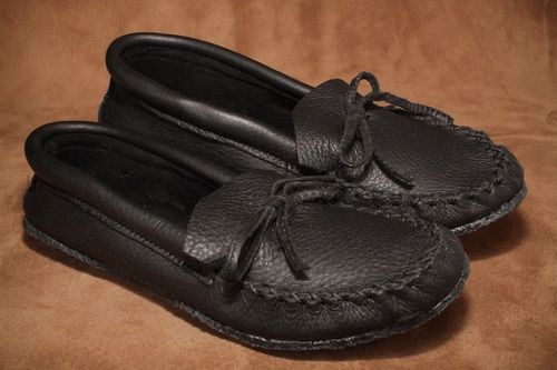 Black moose moccasin with a crepe sole. #leather #Canada #handmade #rockwood #ontario #like #daily #fashion #hidesinhand #black #moose #hide #crepe #sole #mens #fashion