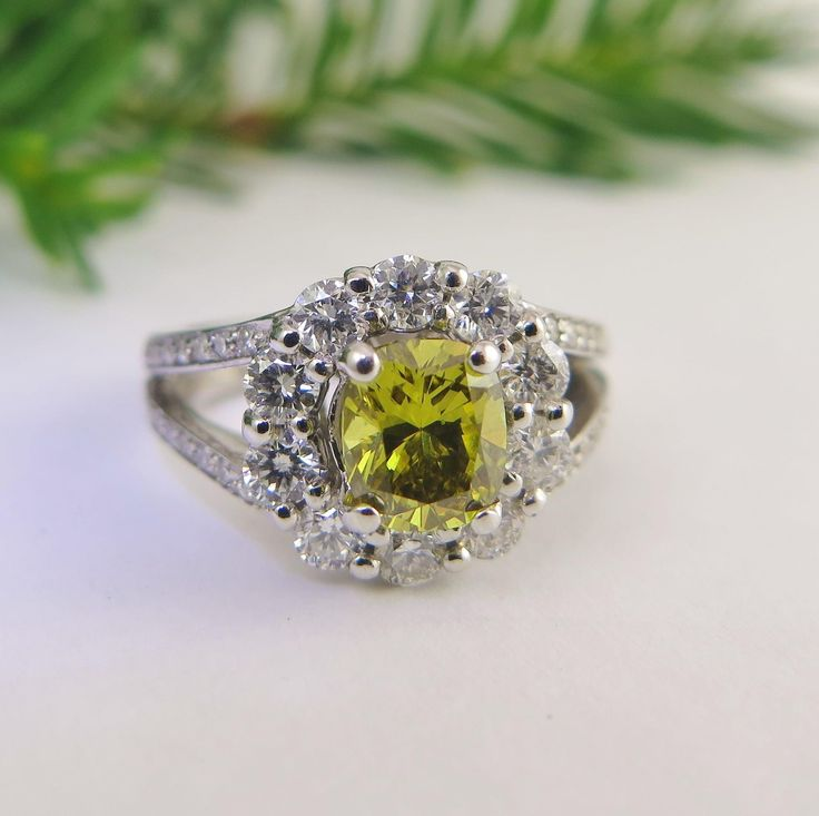 1.10 ct Fancy Deep Olive Diamond , FaCT | A