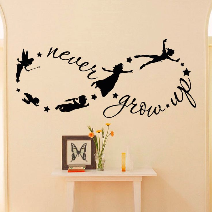 Peter Pan Children Flying Disney Silhouette Never Grow Up Quote Fantasy Fairytale Infinity Symbol- Wall Decals Nursery Decal For Kids Q037 by FabWallDecals on Etsy https://www.etsy.com/listing/224784970/peter-pan-children-flying-disney