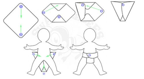 How to fold Flat Diapers (cloth diapers)- option 2
