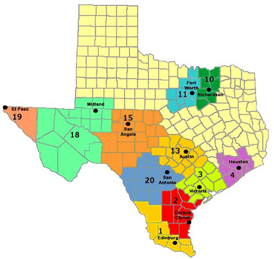 texas counties map with cities over 5000 in population ...