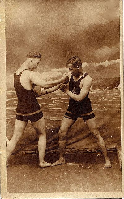 Two men, vintage swimwear, circa 1910