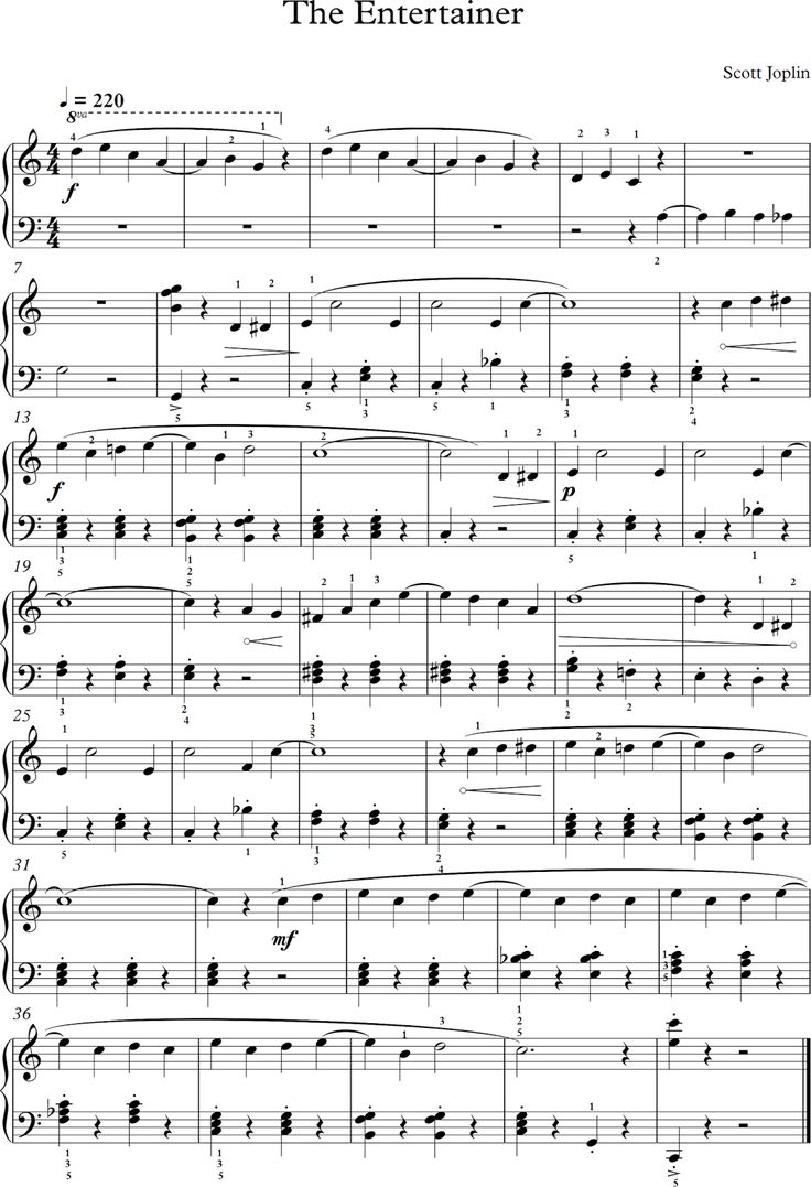 "The Entertainer. Scott Joplin. Partitura para Piano. (Banda sonora de ""El Golpe"" de George Roy Hill"