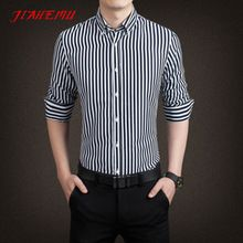 Striped Shirt 2015 Men Autumn New Arrival Cotton Regular Fit Fashionable Striped Premium Quality Business Dress Shirt 5XL N339(China (Mainland))