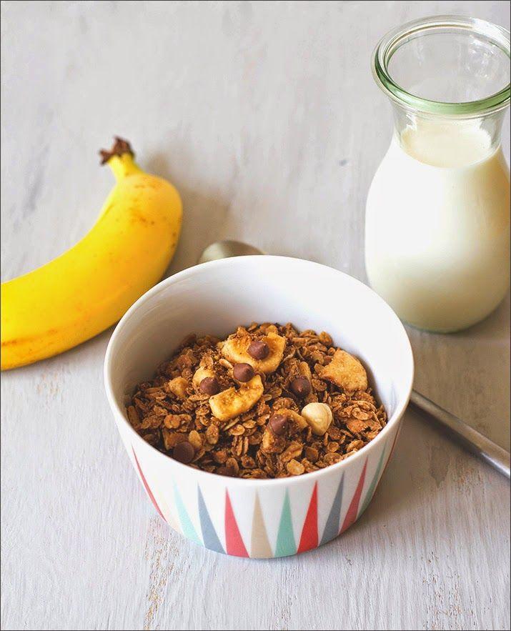 Müsli der Woche - Schoko-Banane-Haselnuss-Granola - selbstgemachtes Knuspermüsli