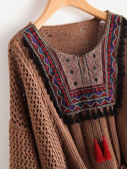 Tasseled Tie Embroidered Yoke Eyelet Jumper -SheIn(Sheinside)