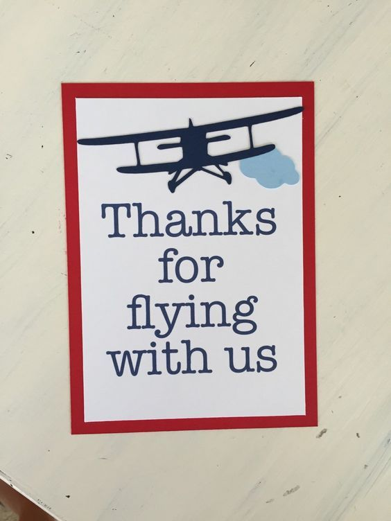 Thanks for Flying With Us Sign, Vintage Airplane Party Decorations, Vintage Airplane Party Theme by HandmadeByVee on Etsy