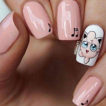 Jigglypuff nails  love Pokemon go for this!