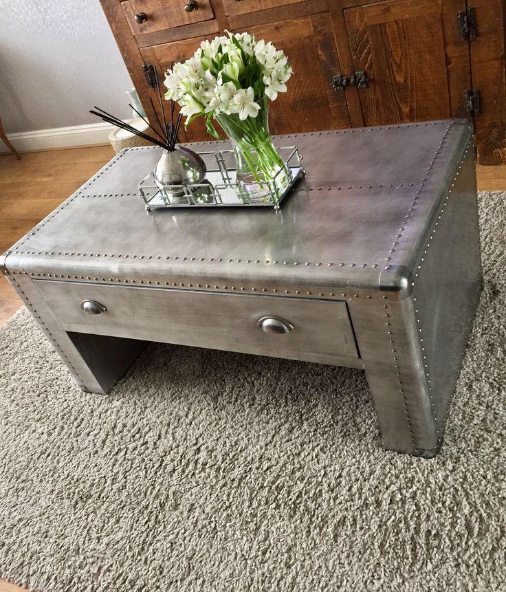 Metal coffee table aluminium coffee table industrial style coffee table  Mirror coffee table tray