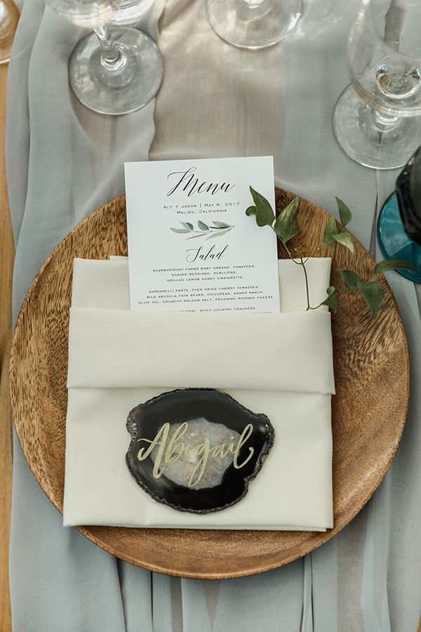Classic White and Black Wedding Menu with Black and Grey Agate Stone Place Card // calligraphy, modern, industrial, minimalism