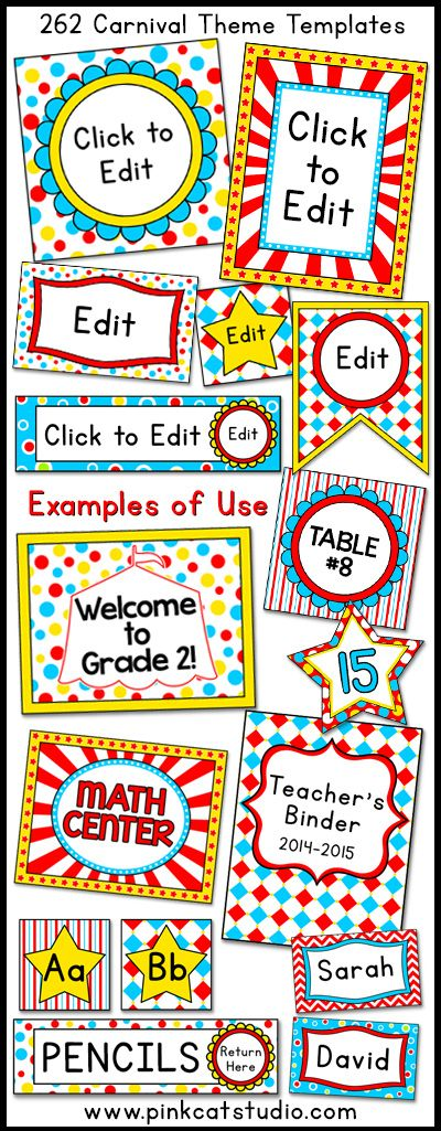 Let your imagination soar when you decorate your classroom using these fun carnival / circus theme labels and templates! This value packed set includes 262 full color template designs that can be used for posters, signs, labels, stickers, binder covers, newsletters, certificates and anything else you can think of for your classroom! By Pink Cat Studio