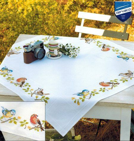 Garden Birds Tablecloth - Cross Stitch Kit