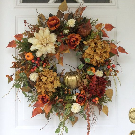 Fall Wreath for Front Door-Hydrangea by ReginasGarden on Etsy