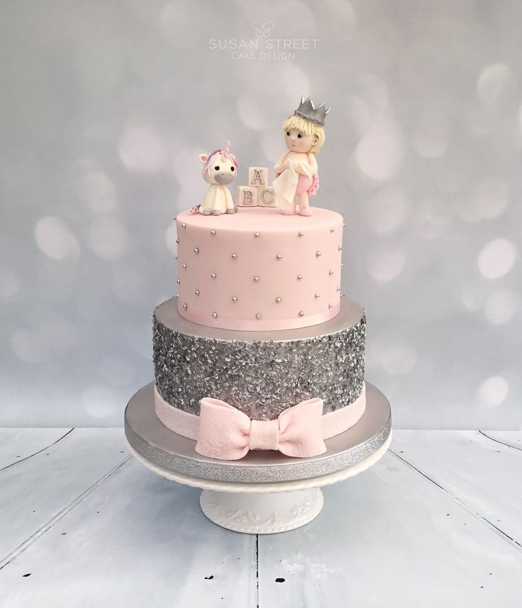 Pink & Silver Baby Shower Cake with edible sparkly sequins...and a unicorn!