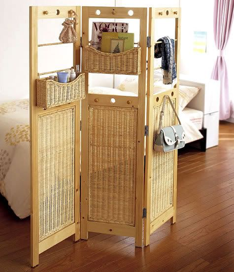 """""""21 Original Storage Solutions To Save Some Space"""" I love the idea of adding baskets to a room divider for storage."""