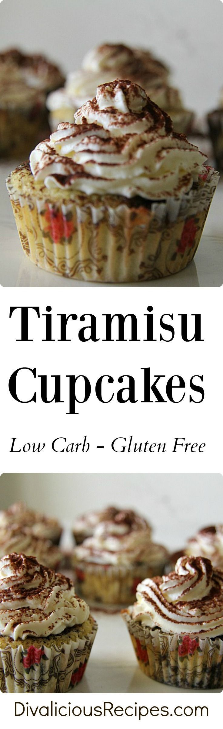 Tiramisu cupcakes that are low carb and gluten free.  A healthier cupcake to enjoy.