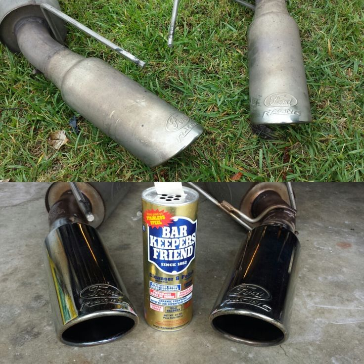 bar keepers friend on exhaust pipes they look brand new before and after pictures bar. Black Bedroom Furniture Sets. Home Design Ideas