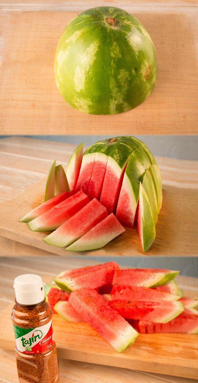 Cut your watermelon from a different angle for a new way to enjoy it ;) #TajinHacks  www.tajin.com