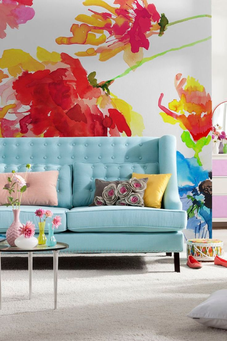 Beautiful pastel blue sofa! For more patterned sofas and living room inspiration head over to modernsofas.com #interiordesign #furnituredesign #livingroomdesign #modernsofas #modernsofastyle