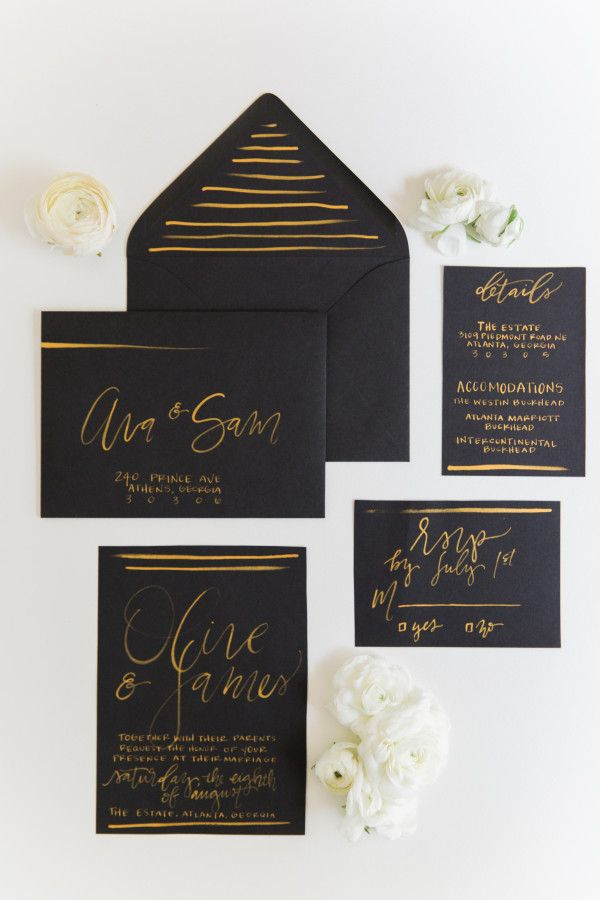Black wedding invitations with gold handlettering