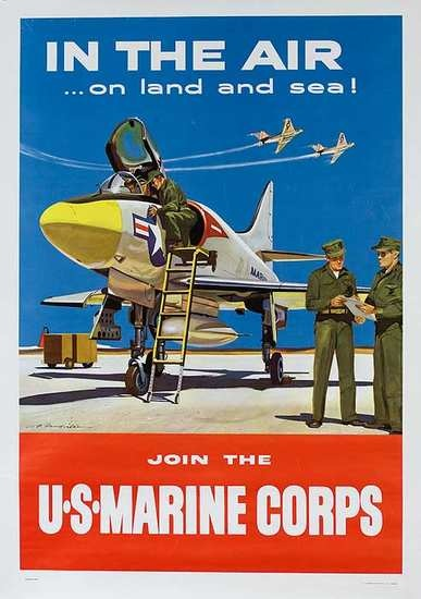 DP Vintage Posters - In The Air.. On Land and Sea Original U S Marine Corp Recruiting Poster