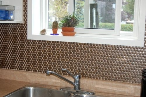 Lyric Penny Tile In Build From On A Residential Kitchen Backsplash
