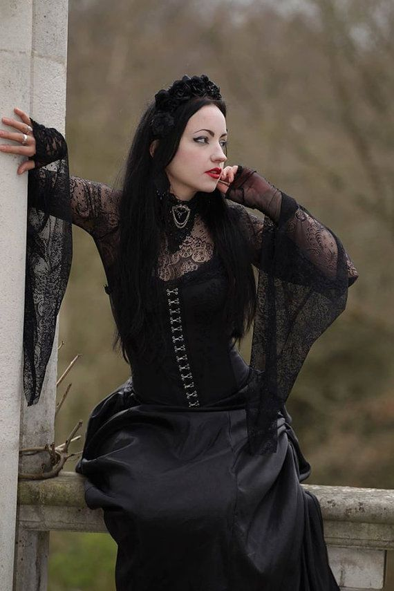 Medieval Batwing Sleeve Lace Gothic Top Trad by SuperstitchiousCo