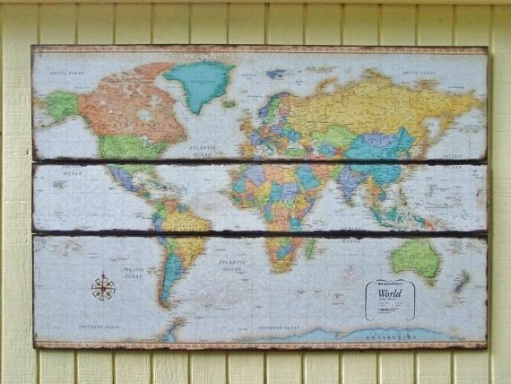 Large World Map  World Map Wall Art by wheretherobinsings on Etsy