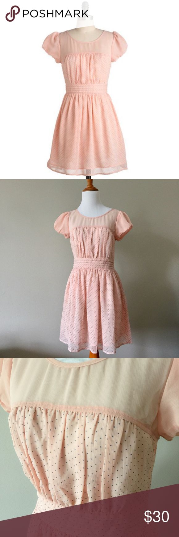 NWOT ModCloth Holiday Weekend Dress in Saturday NWOT. Never worn. Cap sleeves. Side zip. Keyhole back opening. Lined chiffon fabric. Light pink with polka dot print. Brand: Moon Collection. ModCloth Dresses Mini