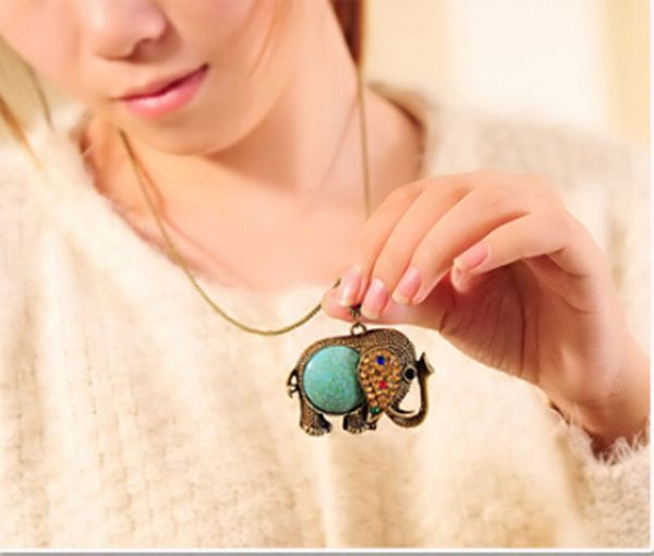 Vintage Woman Elephant Gem Rhinestone Turquoise Bronze Sweater Chain Long Pendant Necklace Jewelry Free Shipping