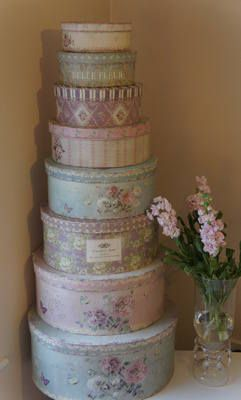 Vintage inspired oval hat boxes just reminded me of spring, and i guess Easter bonnets.