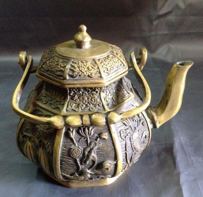 Antique Bronze Carved Tea Pot