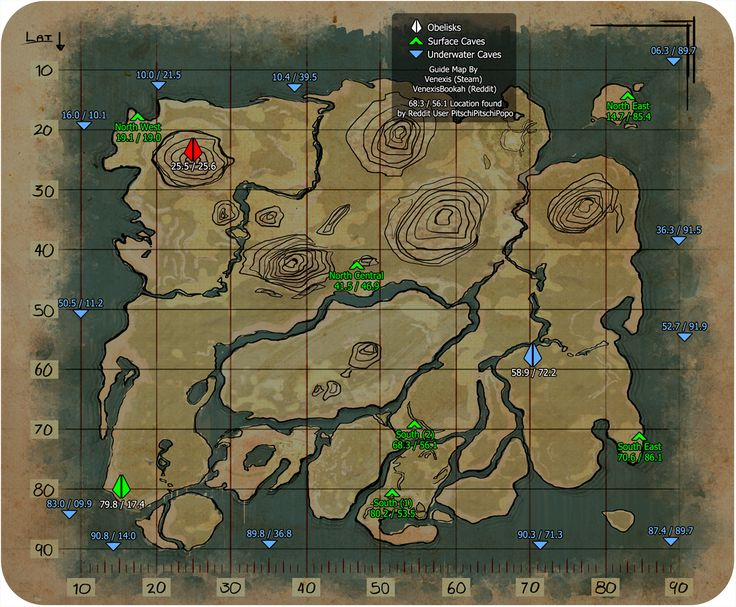 Caves - ARK: Survival Evolved: Below you will find a map for the locations of all known caves so far. Thank you Venexis for your map and guide on Steam Community page for this g...