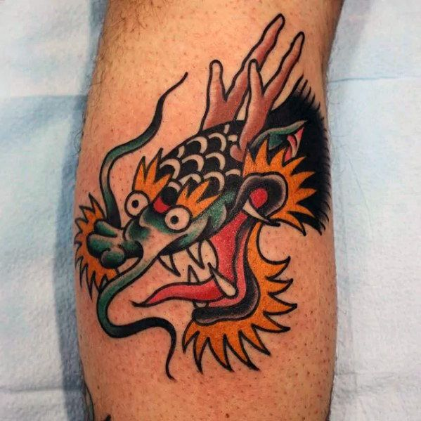 50 Traditional Dragon Tattoo Designs For Men Retro Ideas Dragon Head Tattoo Dragon Tattoos For Men Dragon Tattoo