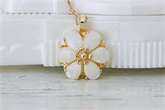 Vintage Opal Necklace  Flower Jewelry  14k Yellow Gold