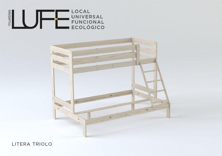 La litera TRIOLO, un ejemplo de convivencia. Dos camas de la misma longitud pero de diferente anchura. www.muebleslufe.com #MueblesLUFE #madera #DIY #ecologico #cama #litera