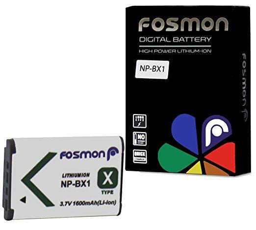 Fosmon Premium Quality Sony NP-BX1 (1600 mAh 3.7V) Replacement Li-ion Battery Pack for Sony DSC-QX100/ RX1/ RX1R/ RX100/ RX100 II/ WX300/ WX350/ HX400/ H400/ HX300/ HX50V, HDR-AS10/ AS15/ AS30V/ AS100/ CX240/ GW66/ PJ275 - Fosmon Retail Packaging