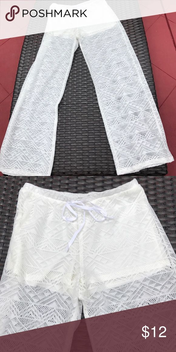 Coverup Off white laced Bathing Suit coverup pants size medium GB Swim Coverups