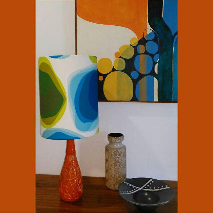 STANDING PROUD A lesson on #lampshade making from Julie @ministryofhandmade resulted in a fab shade showing off #LynneTanner 's #PetraAzul design. Fabric from #socialfabricau  #furnishingfabric #upholsteryfabric #retrofabrics #interiordesign #decor #midcenturymodern #australiandesign
