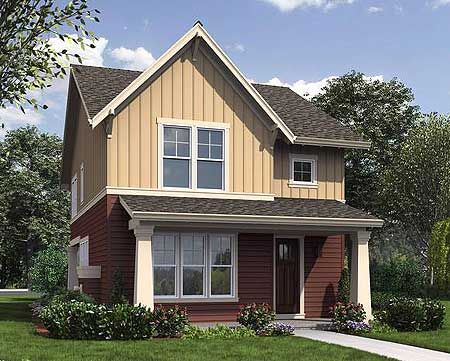 Plan 69518am narrow home plan with rear garage porch for Narrow house plans with garage in back